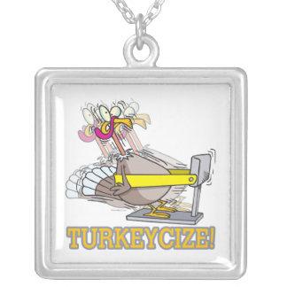 Turkeycize que ejercita el dibujo animado del pavo colgante cuadrado
