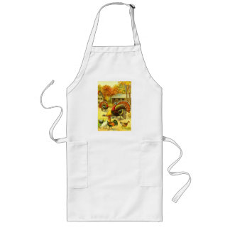 Turkeys and chickens long apron