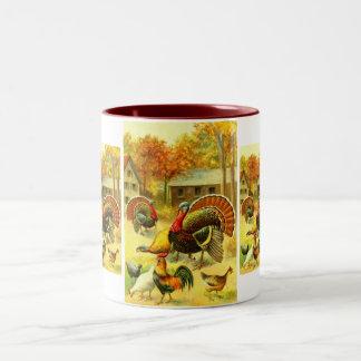 Turkeys and chickens Two-Tone coffee mug