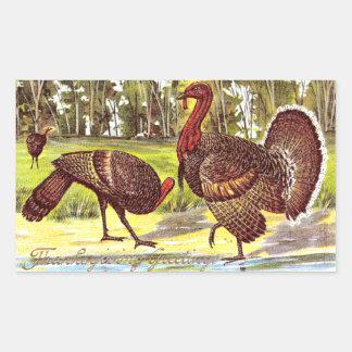 Turkeys by the Water Vintage Thanksgiving Rectangular Sticker