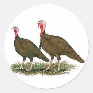 Turkeys:  Chocolate Classic Round Sticker