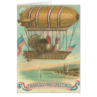 Turkeys in Hot Air Balloon with USA Flags Greeting Card