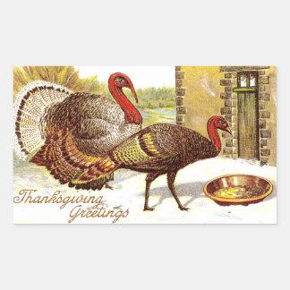 Turkeys in the Snow Vintage Thanksgiving Rectangular Sticker