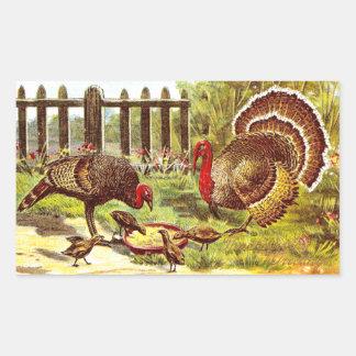Turkeys in the Yard Eating Mash Rectangular Sticker