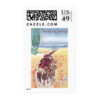 Turkeys March Through Wheat for Thanksgiving Stamps
