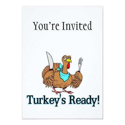Turkeys Ready Thanksgiving 5x7 Paper Invitation Card