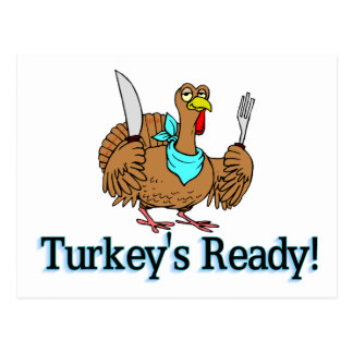 Turkeys Ready Thanksgiving Postcard