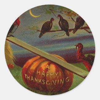 Turkeys Seesaw on Pumpkin Vintage Thanksgiving Classic Round Sticker