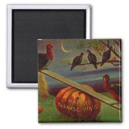 Turkeys Seesaw on Pumpkin Vintage Thanksgiving Magnet