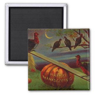 Turkeys Seesaw on Pumpkin Vintage Thanksgiving Fridge Magnet
