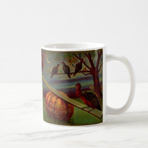 Turkeys Seesaw on Pumpkin Vintage Thanksgiving Mugs