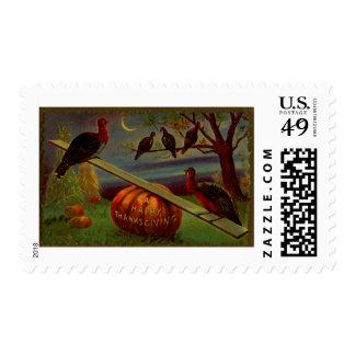 Turkeys Seesaw on Pumpkin Vintage Thanksgiving Postage