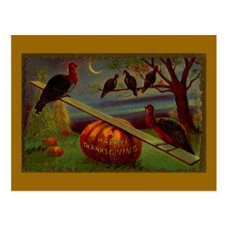 Turkeys Seesaw on Pumpkin Vintage Thanksgiving Postcards
