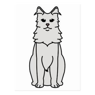 Turkish Angora Cat Cartoon Postcard