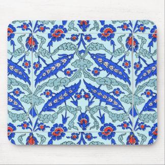 Turkish Border Turquoise Blue Tile Pattern Mouse Pads