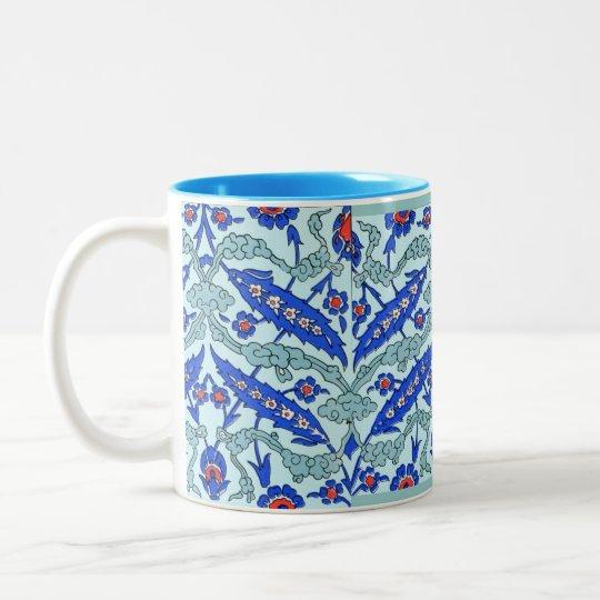 Turkish Border Turquoise Blue Tile Pattern Two-Tone Coffee Mug