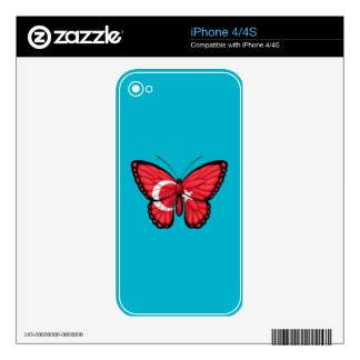 Turkish Butterfly Flag Skin For iPhone 4S