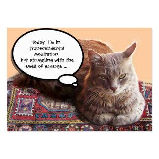 TURKISH CAT IN  TRANSCENDENTAL MEDITATION LARGE BUSINESS CARD
