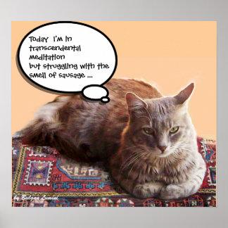 TURKISH CAT IN  TRANSCENDENTAL MEDITATION POSTER