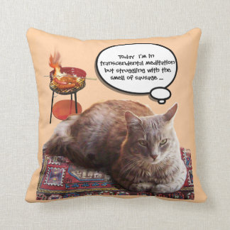 TURKISH CAT IN  TRANSCENDENTAL MEDITATION THROW PILLOW
