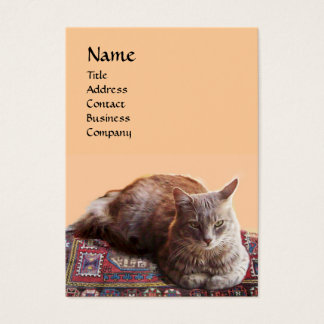 TURKISH CAT ON THE OLD CARPET MONOGRAM BUSINESS CARD