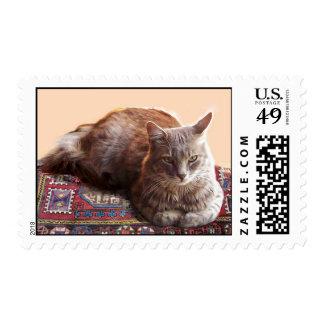 TURKISH CAT SITTING ON THE OLD CARPET POSTAGE STAMP