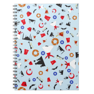 Turkish culture items in a fun pattern spiral note books