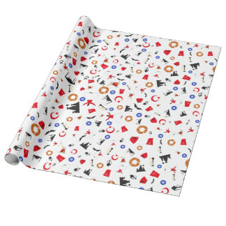 Turkish culture items in a fun pattern wrapping paper