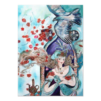 TURKISH FAIRY TALE ,bright red blue green sparkle Card