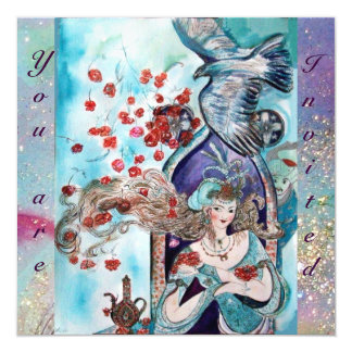 TURKISH FAIRY TALE ,bright  red blue pink sparkles 5.25x5.25 Square Paper Invitation Card