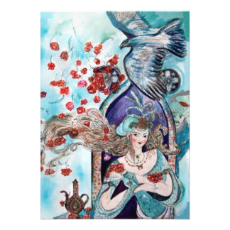 TURKISH FAIRY TALE ,bright red blue pink white Announcement
