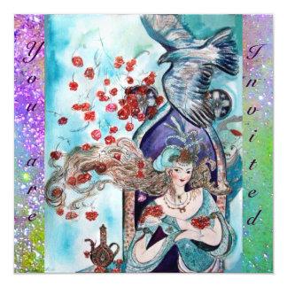 TURKISH FAIRY TALE ,bright red blue purple sparkle 5.25x5.25 Square Paper Invitation Card