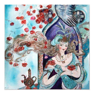 TURKISH FAIRY TALE ,bright red blue white Card