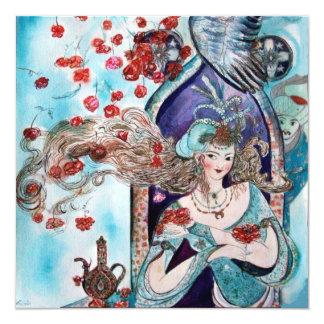 TURKISH FAIRY TALE ,bright red blue white 5.25x5.25 Square Paper Invitation Card