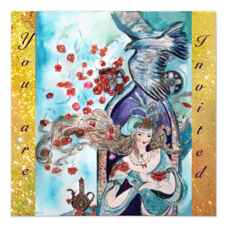 TURKISH FAIRY TALE ,bright red blue yellow sparkle Card