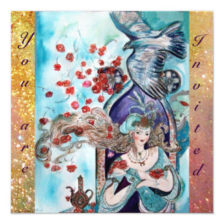 TURKISH FAIRY TALE ,bright red blue yellow sparkle 5.25x5.25 Square Paper Invitation Card