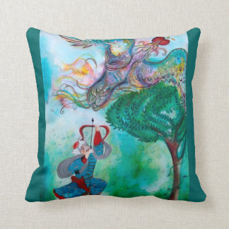 TURKISH FAIRY TALE / PHOENIX AND ARCHER ,Green Throw Pillow
