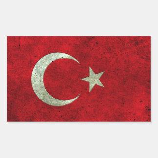 Turkish Flag Aged Steel Effect Rectangular Sticker