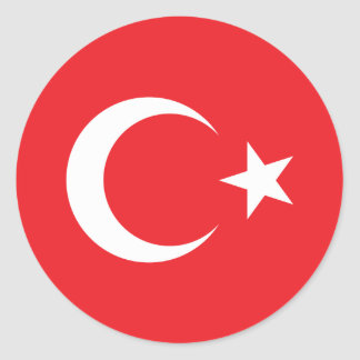 Turkish Flag Circle Classic Round Sticker