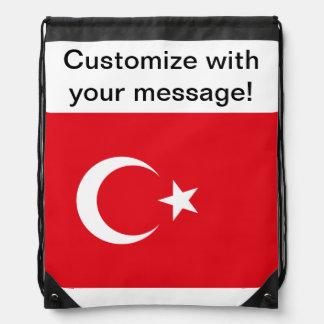 Turkish Flag Drawstring Bag