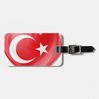 Turkish flag love heart luggage tags