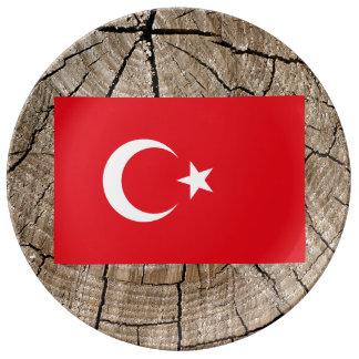 Turkish flag on tree bark porcelain plates