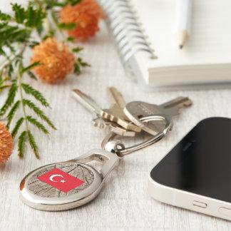 Turkish flag on tree bark Silver-Colored oval metal keychain