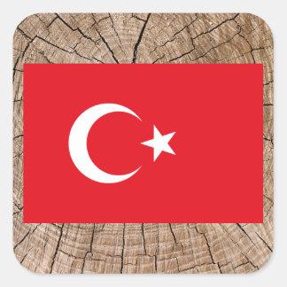Turkish flag on tree bark square sticker
