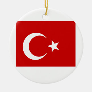 Turkish Flag Double-Sided Ceramic Round Christmas Ornament