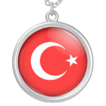 Turkish flag silver plated necklace