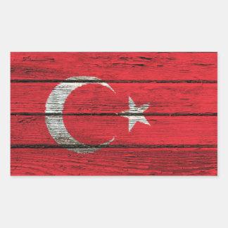 Turkish Flag with Rough Wood Grain Effect Rectangular Sticker
