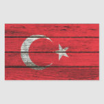 Turkish Flag with Rough Wood Grain Effect Rectangular Stickers