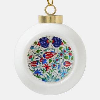 Turkish floral design ceramic ball christmas ornament