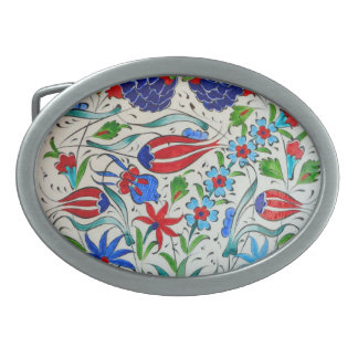 Turkish floral design oval belt buckle